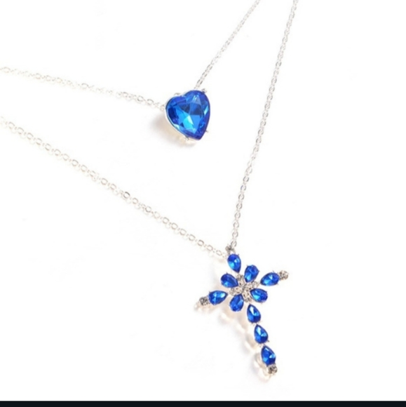 HP!! NWT Delysia King Blue Sparkly Heart Cross Double Goth Necklace!